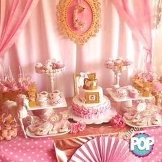 Pink and gold princess birthday party! See more party planning ideas at CatchMyParty.com!