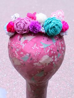 Candy coloured crochet flower crown by WaffleandNeep on Etsy