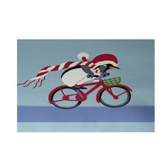 The Holiday Aisle Pedaling Penguin Decorative Holiday Print Indoor/Outdoor Area Rug Rug Size: 2' x 3'