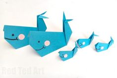 Easy Origam Whale for Kids - super cute, fun and easy whale - a great paper craft for beginner origami kids. How to make an origami whale