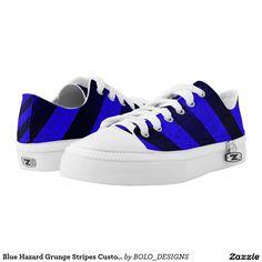 Blue Hazard Grunge Stripes Custom Low Top Kickers