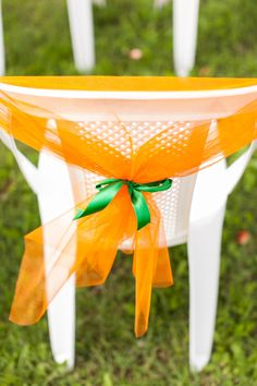Chairs decor #green #orange #wedding