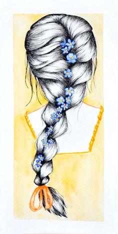 watercollor art by Ana Porto Alegre #hair #girl #illustration #braid #flowers