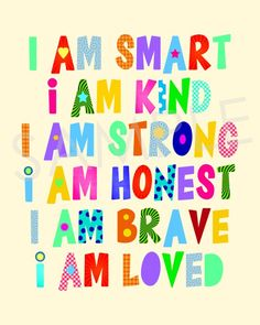 I Am Smart, Kind, Strong, Honest, Brave, Loved Kids Room Wall Art Printable | Boys Room | Girls Room