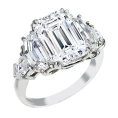 Emerald Cut Diamond Engagement Ring, Cadillac and Bullet Side Stones - ES866EC