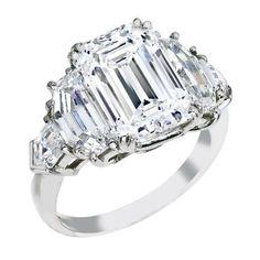 Emerald Cut Diamond Engagement Ring, Cadillac and Bullet Side Stones - ES866EC
