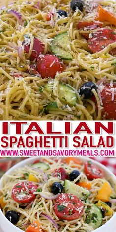 Spaghetti Salad is the perfect summer meal, made with veggies and cold spaghetti. With its fresh ingredients and zesty Italian dressing, the chilling taste will leave you wanting so much more. Cold Spaghetti Salad, Summer Spaghetti, Salad Recipes Video, Pasta Salad Recipes Cold, Cold Pasta Dishes, Summer Pasta Recipes, Healthy Summer Recipes, Low Carb Brasil, Pasta Salad Italian