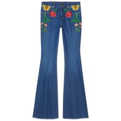 Gucci Garden Exclusive Denim Pant ($1,300) ❤ liked on Polyvore featuring jeans, pants, bottoms, gucci, flared jeans, embroidered denim jeans, flower jeans, gucci jeans and embroidery jeans
