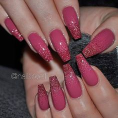 ✨ REPOST - - • - - Dark Rose Pink with Glitter-Ombre on Coffin Nails - - • - - Picture and Nail...