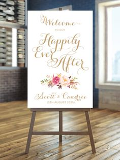 I create and you print !!  This listing is for your personalized Welcome to our Happily Ever After specialty sign as shown above. Available in