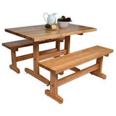 bench tables for kitchen | ... Boos Maple Trestle Table Multiple Sizes Bench Sold Seperately | eBay