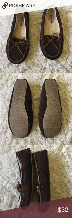 Minnetonka Chocolate Brown Moccasins Like New! Check out the Soles, Great Condition! Never Worn Outside the House! Size 9. Minnetonka Shoes Moccasins