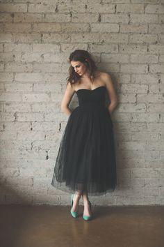 Tea Length Strapless Sweetheart Tulle Black Dress by Ouma par ouma, $260.00