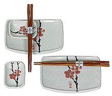 Japanese Ceramic Sushi Set for Two - White Glaze with Red Plum Flowers