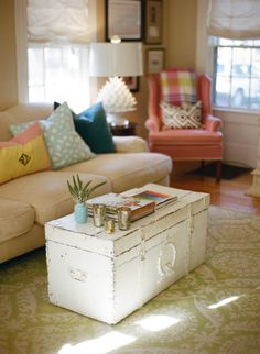 painted trunk as coffee table