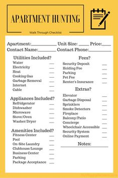Apartment Checklist New Pdf Ease Your Search Hunting Great List To Work With When Ping I Would Add 2 Things How Much