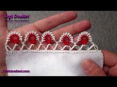 Tığ İşi Kolay İplik Oyası Yapılışı - YouTube Needle Tatting, Needle Lace, Crochet Borders, Crochet Squares, Irish Crochet, Easy Crochet, Lace Saree, Hand Embroidery, Cross Stitch Patterns