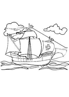 Coloriage d'un bateau à voile naviguant sur la mer.