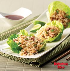 Spicy Chicken and Brown Rice Lettuce Wraps made with Mahatma Whole Grain Brown Rice.