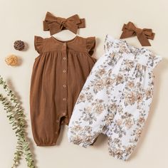 Baby / Toddler Solid Floral Flutter-sleeve Bodysuit and Headband Set - Khaki Trendy Baby Clothes, Cute Baby Girl Outfits, Baby Girl Dresses, Baby Girl Clothing, Cute Baby Girl Clothes, Fall Baby Outfits, Infant Girl Clothes, Baby Girl Clothes Summer, Bohemian Baby Clothes