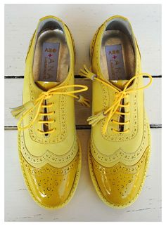 ABO + Ana Ljubinkovic yellow brogues #abo#aboshoes#abo+analjubinkovic#brogues#yellow#spring