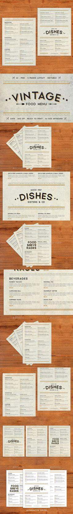 Vintage #Food #Menu - Food Menus Print Templates Download here: https://graphicriver.net/item/vintage-food-menu/19730520?ref=alena994