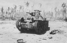 Japanese Type 95 Ha-Go light tank, abandoned on the foreshore at Tarawa, November, 1943.
