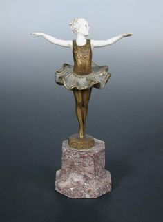 An Art Deco gilt bronze and ivory figure of a young ballerina by Ferdinand Preiss PK monogram for Preiss & Kassler, mounted on an octagonal marble plinth base h:18 cm - Cheffins