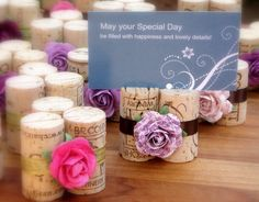 Place Card Holders in Rich Plums & Peonies by KarasVineyardWedding, $60.00..... or i can DIM for free-ish since I can always just wine my face off and end up with 250 corks in 6 months..... thats healthy