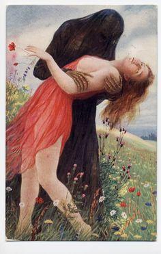 Der Tod und das Mädchen by Adolf Hering, 1900 #classic #painting #dark #death #veil