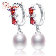 DAIMI 8-9mm Tear Drop Pearl Earrings & Shinny Crystal Freshwater Pearl Hook Earrings New //Price: $41.97 & FREE Shipping //     #Clothing