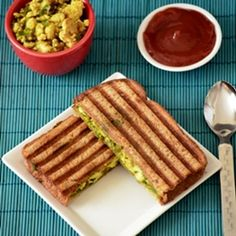Paneer-Indian cottage cheese stuffed sandwich with cilantro mint chutney