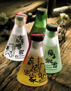 Sake theme. Single colour print. Isolated images like tattoos