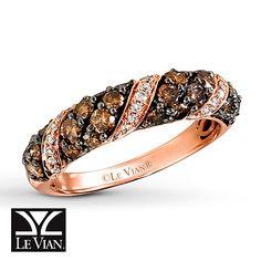 LeVian Chocolate Diamonds 1 carat tw Ring 14K Strawberry Gold