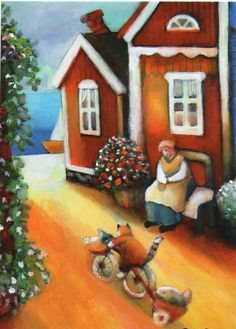 Image detail for -. House Illustration, Illustrations, Tove Jansson, Holly Hobbie, Naive Art, Cat Design, Drinking Tea, Cat Art, Martini