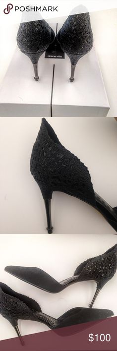 """NWOT """"Ellah"""" Stilettos by Dolce Vita Timeless and classy d'Orsay style heels. Back has unique embossing detail and scalloped edge, toe area is suede.  Never worn outside, worn once inside. Perfect condition! Comes with extra heel tips! Dolce Vita Shoes Heels"""