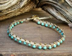 Magnesite Anklet Macrame Anklet Beaded Macrame by BesoDelCorazon