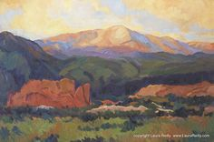 """Southwest Art: Pikes Peak and Garden of the Gods Painting, """"Sunday Sunrise"""" by Contemporary Colorado Artist Laura Reilly"""