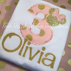 Pink and Gold Minnie Mouse Birthday by GetStitchedBySteph on Etsy