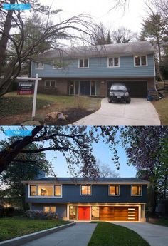 The 12 Awesome Split Entry House Remodel Before And After is Best Home Design and Interior Decorating Architecture of The Years 2017 Design Exterior, Modern Exterior, Exterior Paint, Exterior Shutters, Modern Garage, Exterior Colors, Home Exterior Makeover, Exterior Remodel, Modern House Design