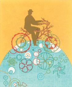 Illustrated by Thom Sevalrud Bike Illustration, American Illustration, Sun Life Financial, Sheridan College, Communication Art, Scientific American, Chicago Tribune, Book Publishing, Surface Design