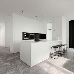 Tamizo Architects - Single family house interior design in Pabianice, 2014 White Kitchen Interior, Interior Design Kitchen, Gray Interior, Classic Interior, Interior Modern, Modern Decor, Interior Design Minimalist, Modern Kitchen Design, Kitchen Contemporary