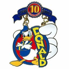 Disney Pins - Disney Pin Trading 10th Anniversary - Limited Edition - Tribute Collection - Donald Duck 74583 by Disney. $34.95. This pin collection pays tribute to some of the most popular pin designs released through the first ten years of Disney pin trading. This pin includes a replica of the Surprise - Donald Duck, which was released in the first year of Disney Pin Trading.  This pin series is based on the original classic pins when it started back in 1999