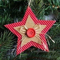 Corrugated Cardboard Christmas Star Ornament 3 More Kids Crafts, Christmas Crafts For Kids, Homemade Christmas, Christmas Projects, Holiday Crafts, Christmas Holidays, Christmas Cards, Christmas Ideas, Cardboard Christmas Tree