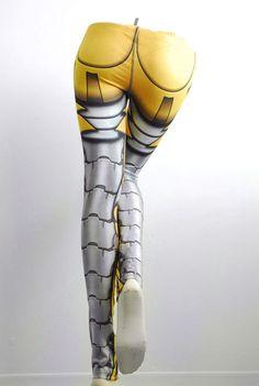 Bionic Leggings Size M Yellow Printed Metal Robot by Mitmunk