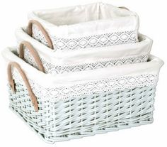 If you can't buy these, spray paint your own set and use vintage linens to make the liners