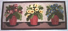 A modern hooked rug from Lebanon, New Hampshire. Rug hooking was originally developed in England as a method of using leftover scraps of cloth. Next Rugs, Hand Hooked Rugs, Penny Rugs, Wool Applique, Punch Needle, Rug Hooking, Flower Making, Florals, Pattern
