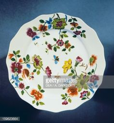 Foto stock : Plate decorated with polychrome flowers, 1750, porcelain, Ginori manufacture, Doccia, Sesto Fiorentino, Tuscany, Italy, 18th century