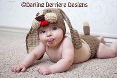 Baby Puppy Hat and Diaper Cover Crochet Pattern