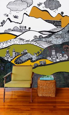 Children's room mural - Like the idea of painting in chalk boards inbetween! Mural Painting, Mural Art, Painting Doors, Painting Tips, House Painting, Painting Techniques, Interactive Walls, Murals For Kids, Kids Wall Murals